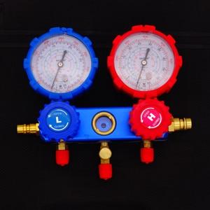 Image 4 - Klimatyzacja chłodnicza zestaw mierników z rurkami rozgałęźnymi narzędzia do konserwacji R134A zestaw samochodowy z futerał do przenoszenia AC diagnostyczne czynnika chłodniczego