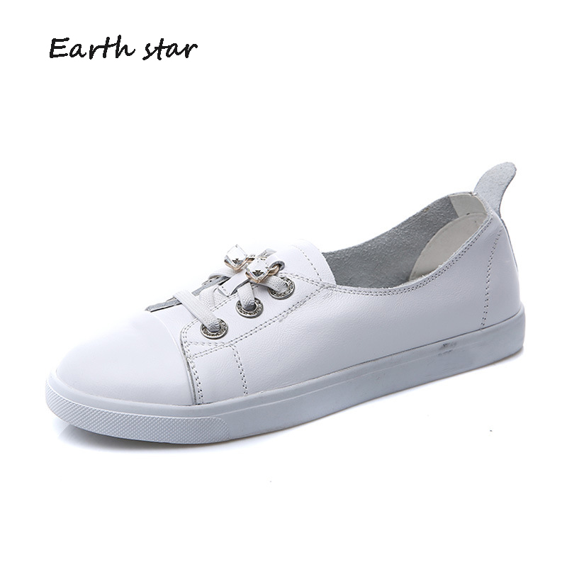 EARTH STAR Casual White Shoes Women Brand Platform Sneakers Rhinestone Real Leather Flats Lady Chaussure Female Footware Crystal