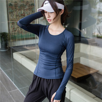 WBTRO Women Sport Top Fitness Gym Shirt Thumb Hole Yoga Long Sleeves Clothing High Elasticity Top Yoga Shirt Free Shipping