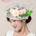 The new manual simulation flowers bridal headdress hat hat Continental fresh lace wedding photography accessories