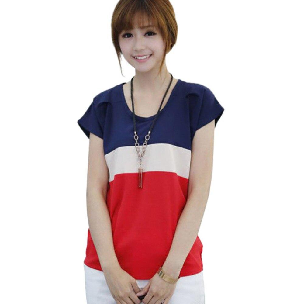 New Korean Women Chiffon Crew Neck Batwing Sleeve Ladies T-shirt Spell Color Loose Tops