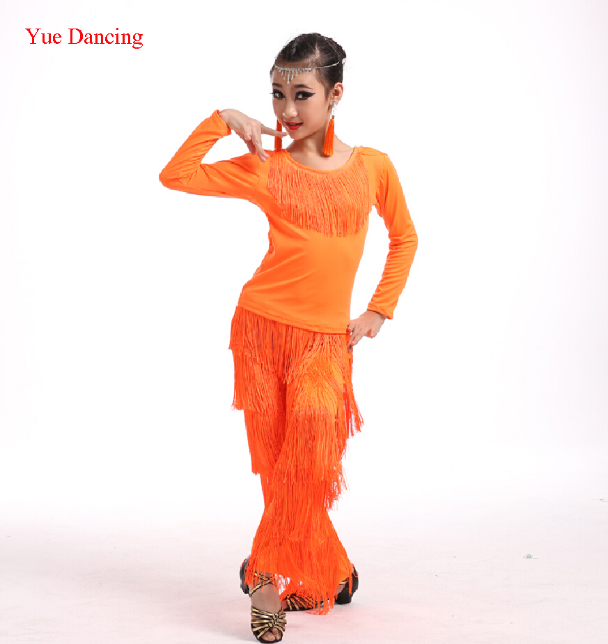 4-16Y Girls Dance Costumes Child's 1920s Flapper Dress Vestidos De Baile Latino Salsa Cheap Fringe Latin Tango/Cha Cha Dancewear