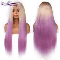 Ombre Фиолетовый Цвет Синтетические волосы на кружеве натуральные волосы парики прямые светлые корень фиолетовый Glueless Синтетические волосы