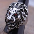 High Quality Stainless Steel Lion Head Finger Ring For Men Red Crystal Eyes Punk Style Fashion Male Jewelry 2016 Size 8-13(A459)