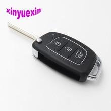 Xinyuexin Flip Remote Car Key Shell FOB Case For Hyundai HB20 Santa FE IX35 IX45 Accent I40 3 Buttons Replacement Case FOB Shell