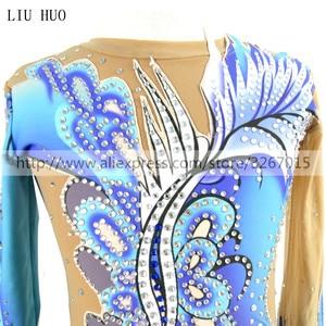 Image 5 - Vrouwen ritmische gymnastiek maillots voor meisjes prestaties pak Artistieke gymnastiek jurk Blauw Mooie print Shiny rhinestone