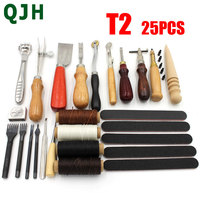 QJH brand 1Set/25pcs Leather Craft Tools Kit Punch hole Tool for Stitch Carving Sewing Saddle Groover DIY knife Grinding Tool