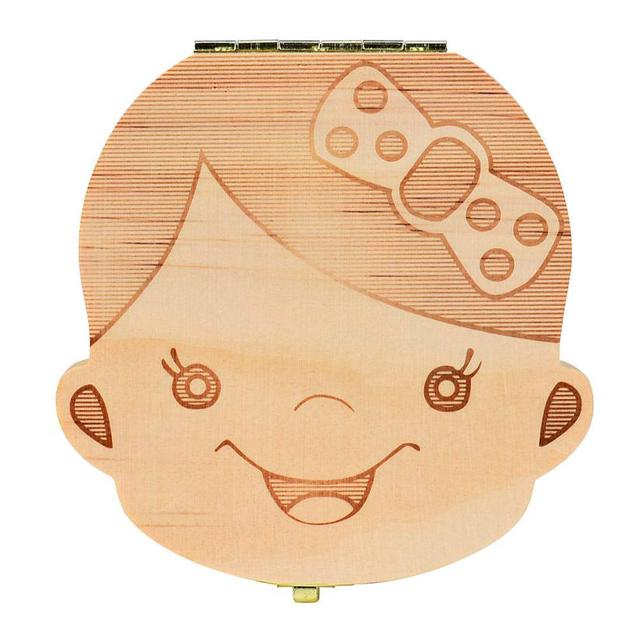 Spanish/English/Russian Wooden Tooth Box Baby Kids Organizer Storage Box Baby Milk Collect Gift Save Cord Lanugo Umbilical Case