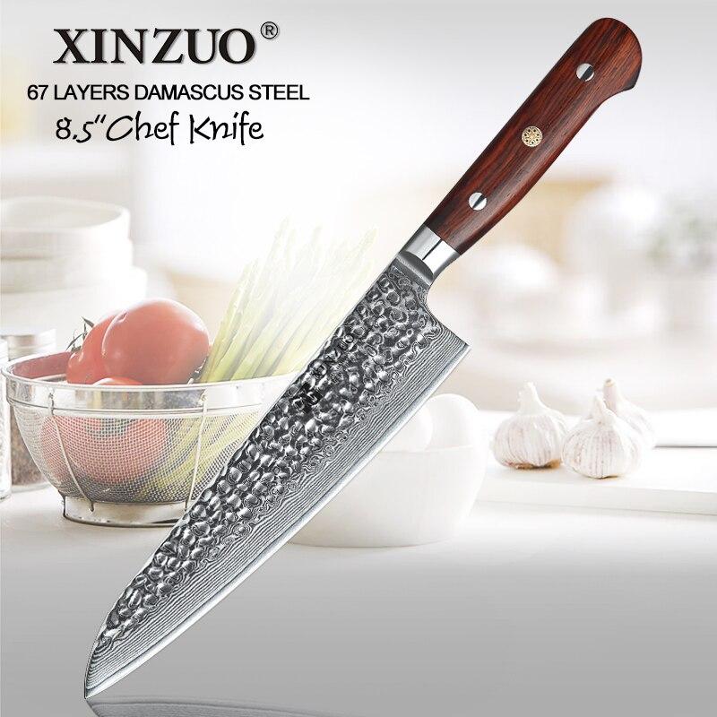 """Ev ve Bahçe'ten Mutfak Bıçakları'de XINZUO 8.5 """"inç şef Bıçağı vg10 Şam Çelik Japon Mutfak Çatal Gülağacı Kolu Paslanmaz Çelik Gyutou Bıçaklar'da  Grup 1"""