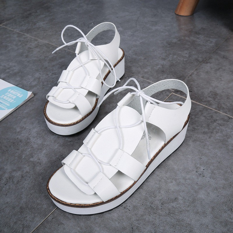 Hot Sale New Spring Summer Fashion Sandals Thick Soled Shoes Lace-up Black White Women sandals HSD08  (4)