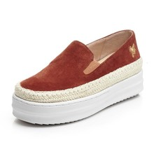 Women Fashion Espadrilles Spring 2017 Suede Leather Embroidery Female Flat Platform Loafer Slip on Driving Shoes