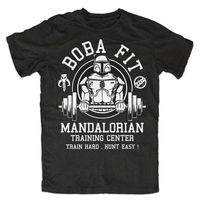 Boba Fit T Shirt Mens Star Wars Mandalorian Training Center Tops Tee Shirts Jedi Stormtrooper Camisetas