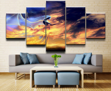 HD Prints Canvas Pictures Bedroom Wall Art Anime Posters 5 Pieces Cloud Dragon Fantasy Sky Woman Paintings Home Decor Framework