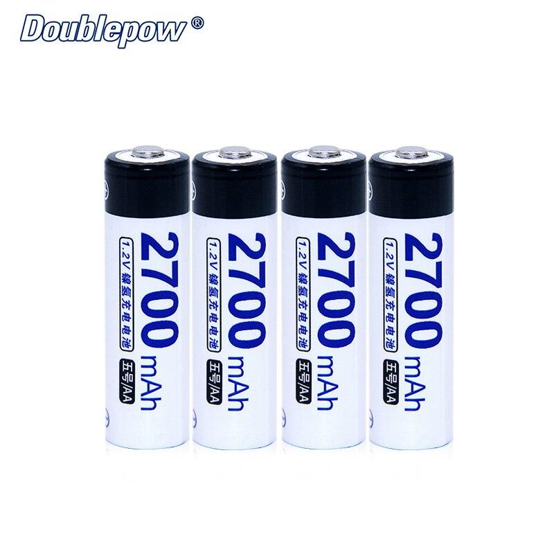 4 pz/lotto Doublepow DP-AA2700mA 1.2 V Ni-Mh Batteria Ricaricabile in Cellula di Batteria Ad Alta Capacità di 2700mA Effettiva SPEDIZIONE GRATUITA
