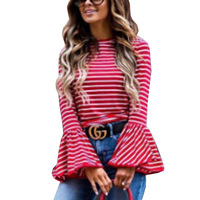 2017 Women's Long Sleeve T-shirt Fashion Contracted Stripe Big Trumpet Sleeve Striped Trumpet T-shirt