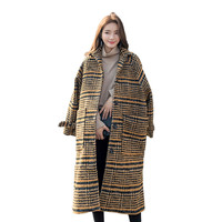 Elegant Vintage Tweed Winter Casual Woolen Overcoat 2018 Autumn Plaid Women's woolen Blended Coats Jacket Female S106