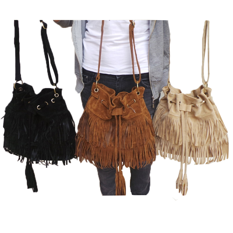 ФОТО Women 's messenger bags tassel ladies bag new European and American retro simple shoulder scrub drawstring Solid Matte material