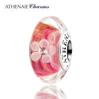 ATHENAIE Genuine Murano Glass 925 Silver Core Pink Gold Dust Petal Charm Bead Fit All European