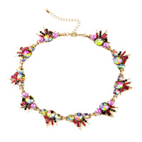 Floral Spike Collar Necklace Colorful Pearl Choker Statement Maxi Gold Plated For Women Bohemia Style