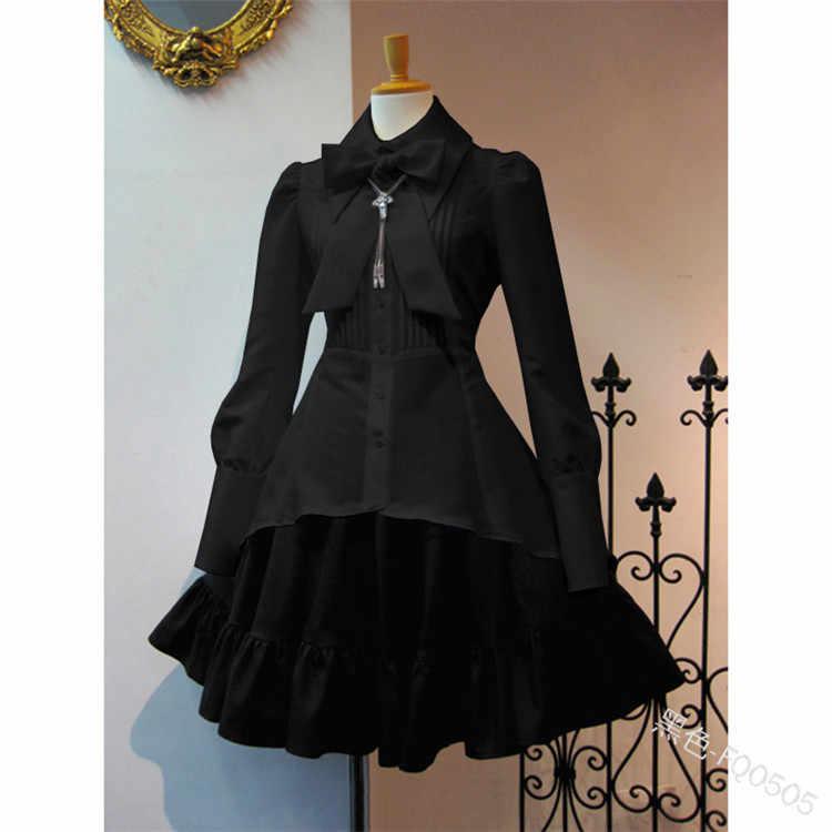 スウィートロリータドレス女性のファッションの弓の襟長袖ヴィンテージドレスフリル無ネックレスカジュアルシャツパッチワークかわいい a-l
