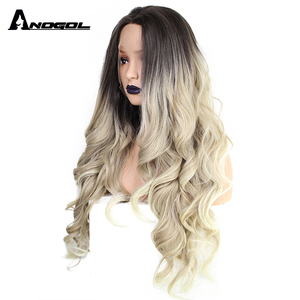 Image 4 - ANOGOL Deep Brown Ombre Blonde Synthetic Lace Front Wigs with Dark Roots Long Body Wave Wig for Women