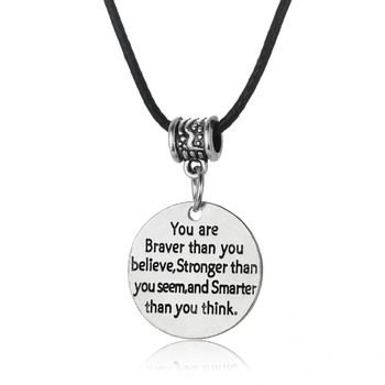 Leather Chain Pendant Necklace You Are Braver Than You Believe Strong Than You Seem Beads Women Men Charm Jewelry Gifts image