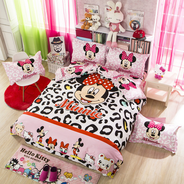 Free Shipping Full Size Cartoon Bedding Set Printed Mickey Ed Sheet Baby Bed Sheets