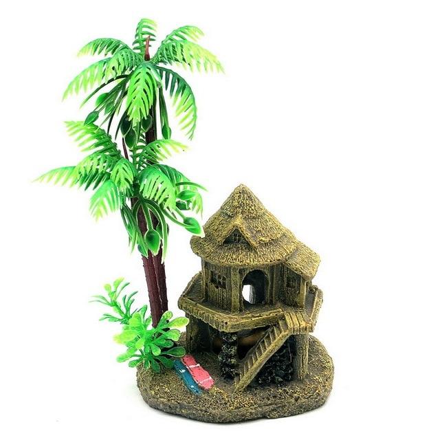 simulation resin coconut tree castle aquariums fish tank ornaments decoration greenbrown