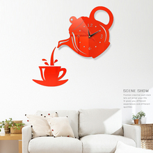 European 3D tea pot Wall Clock Living Room/Dining Room Decoration DIY Coffee Cup Teapot Pattern Acrylic Sticker Clocks