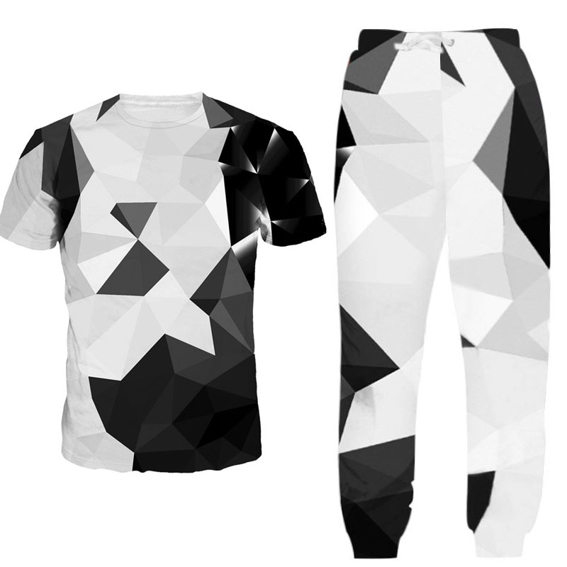 Summer Hot Sale Men's Sets 3d Diamond Print T Shirts+pants Two Pieces Sets Casual Tracksuit Male Tshirt Gyms Fitness Trouser