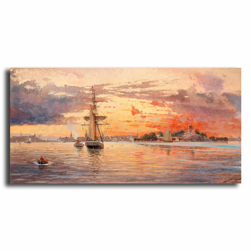 Jacob Hagg Sun Setting Over The Sea Approach To Stockholm Art Canvas Poster Painting Wall Picture Print Home Bedroom Decoration