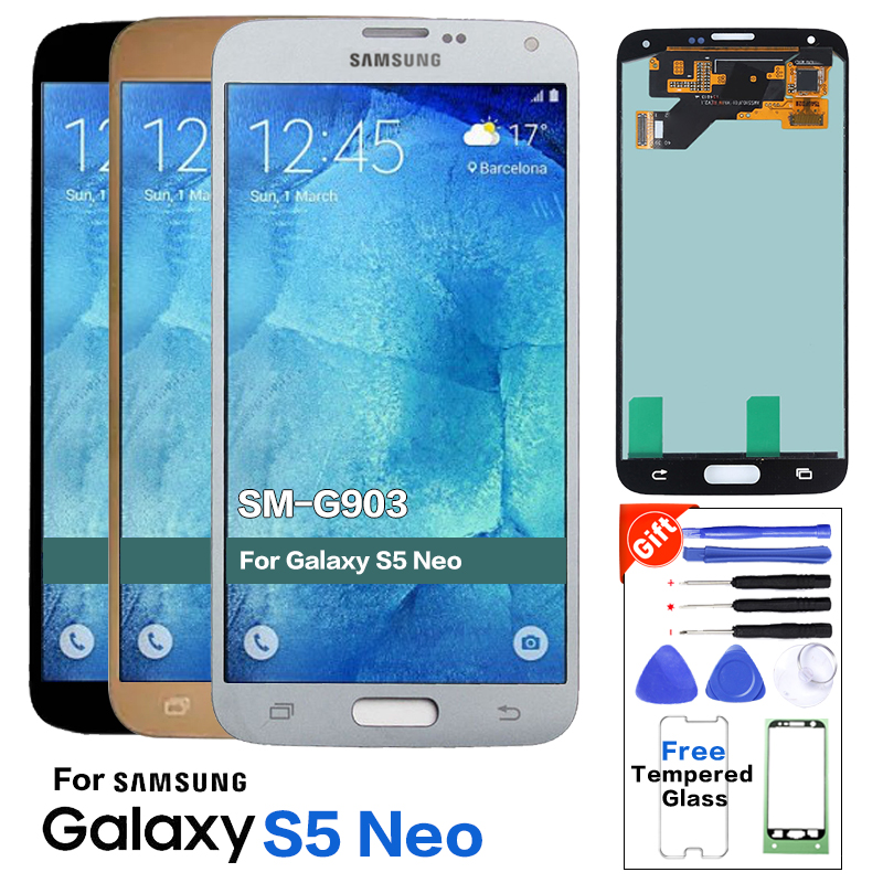 Super AMOLED Original LCD For Samsung Galaxy S5 Neo G903 G903F New LCDs Display Touch Screen Assembly 100% Tested+Sticker