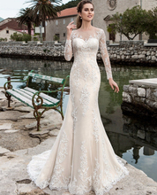 Lace Mermaid Wedding Dresses Long Sleeve Robe De Mariee See Through Sexy Bridal