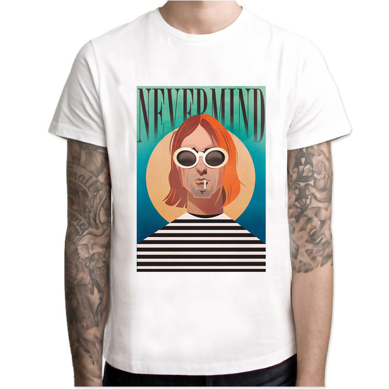 nirvana Men   T  -  Shirt   2018 Short Sleeve Pattern Print   T     Shirt   O-Neck Tops Fashion Mens Tee   Shirt   TShirts 4XL MR4297