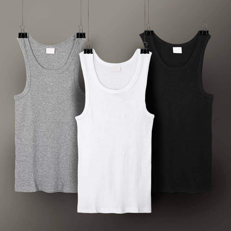 3pcs/lot Men's Top Underwear Cotton Mens Sleeveless Muscle Vest Undershirts O-Neck Gymclothing Asian Size Men Under Shirt