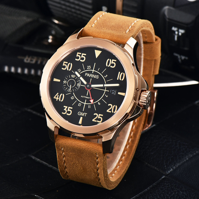 44mm Parnis Automatic Watch Large Face Military Watches GMT Rose Gold Men Watch Luxury Top with Sapphire Glass Leather Band 41mm parnis automatic watch sapphire glass lume clock mechanical watches classic men watch top brand luxury gmt gifts for men