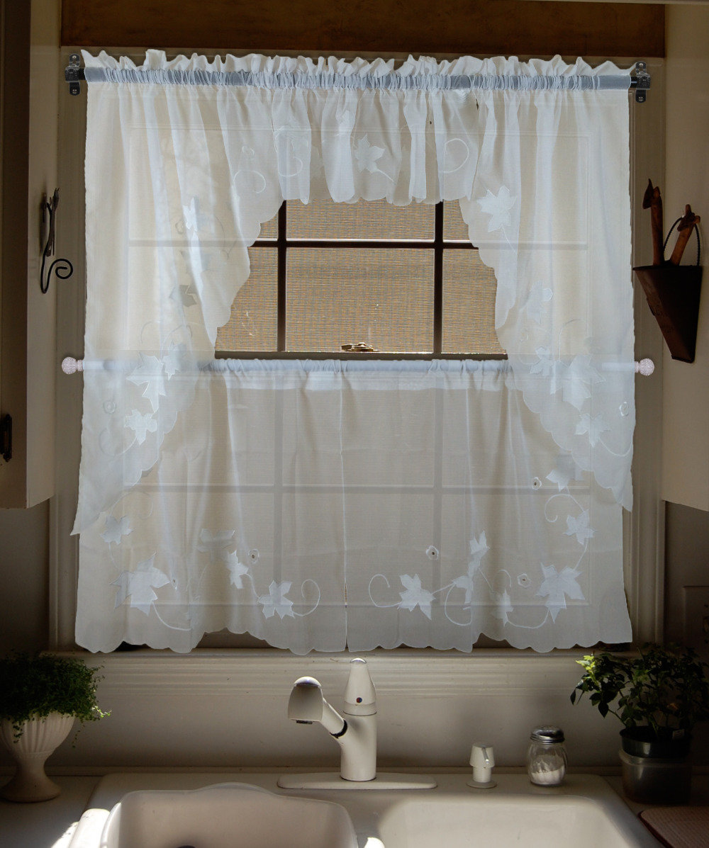 Bordado hojas de arce / cortinas transparentes de tul / Swag ...