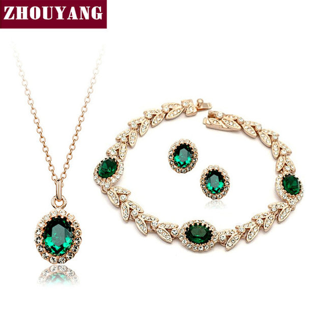 ZHOUYANG ZYS108  Gold Plated Created Emerald Green Austrian Crystal Jewelry Set  With 3 Pcs Eearrings + Necklace + Bracelet