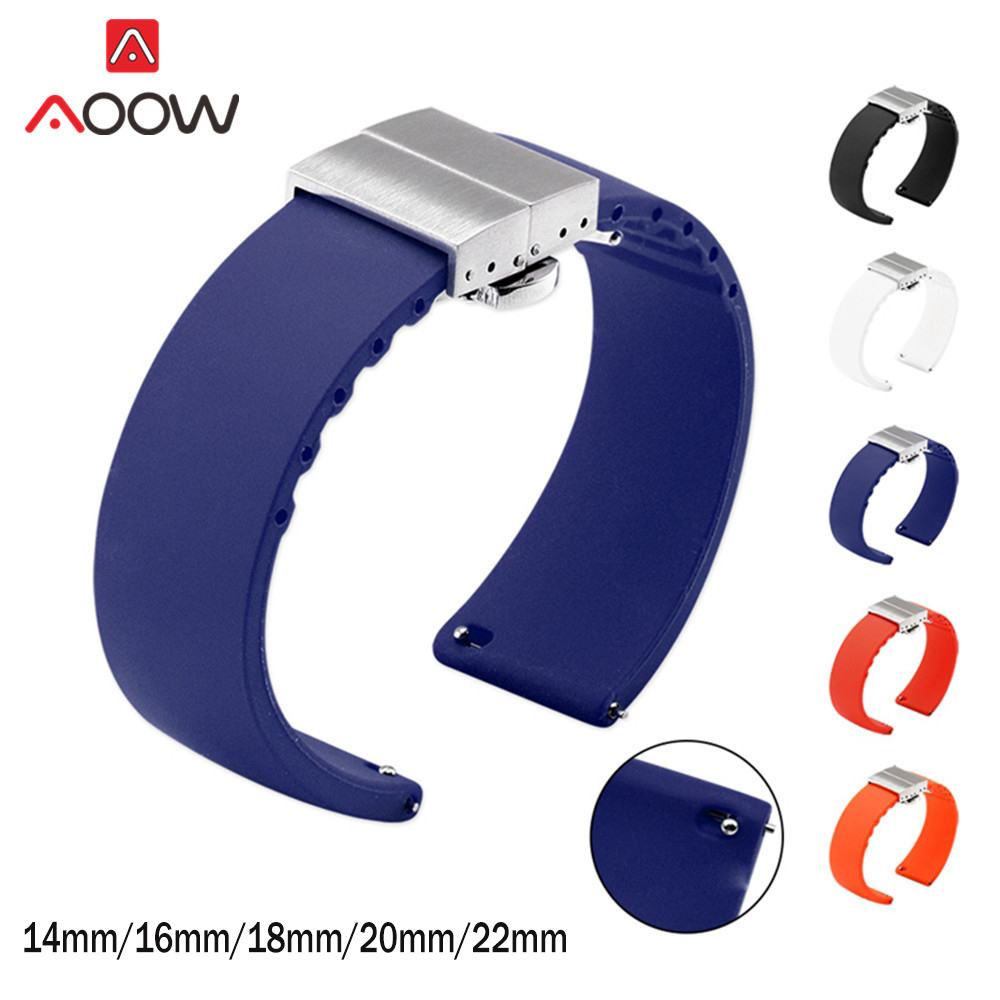 14mm 16mm 18mm 20mm 22mm Soft Silicone Quick Release Watchband High Quality Butterfly Buckle Bracelet Band Strap Accessories