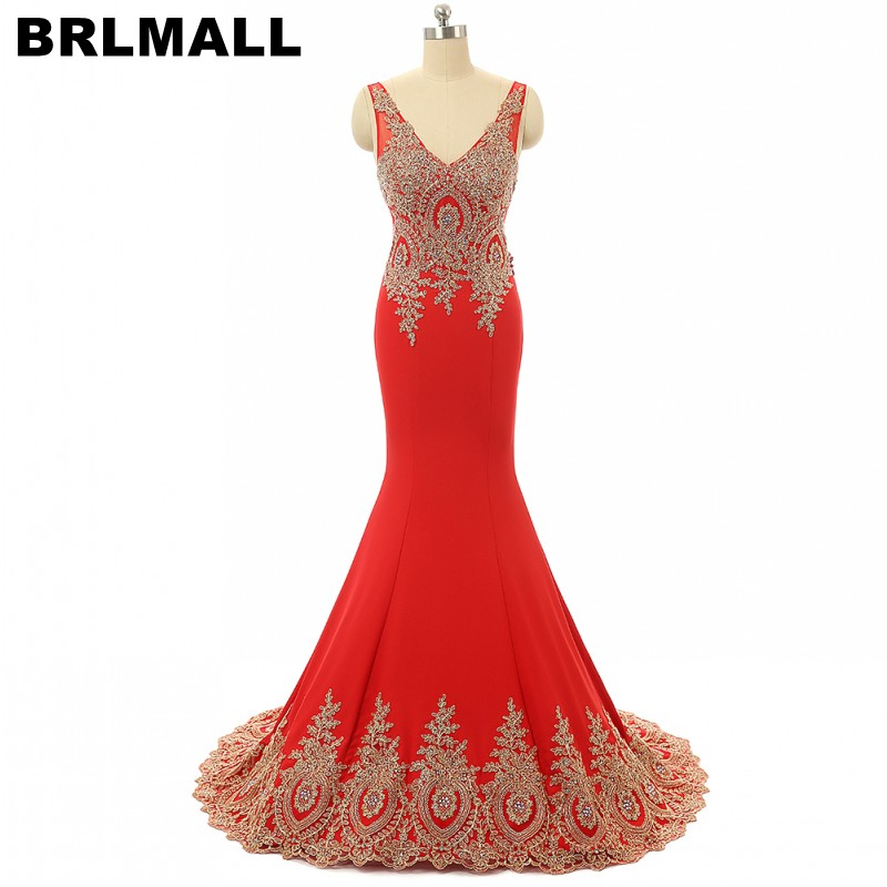 BRLMALL Charming Red Mermaid Evening   Dress   2017 Sexy v neck Gold Appliques   Prom     Dress   Backless party   dress   court train