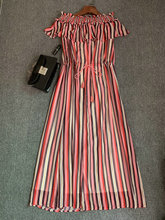 Original Summer Dress Beautiful Striped Design Sexy One-Shoulder Waist Belt Casual Seaside Holiday Two Colors