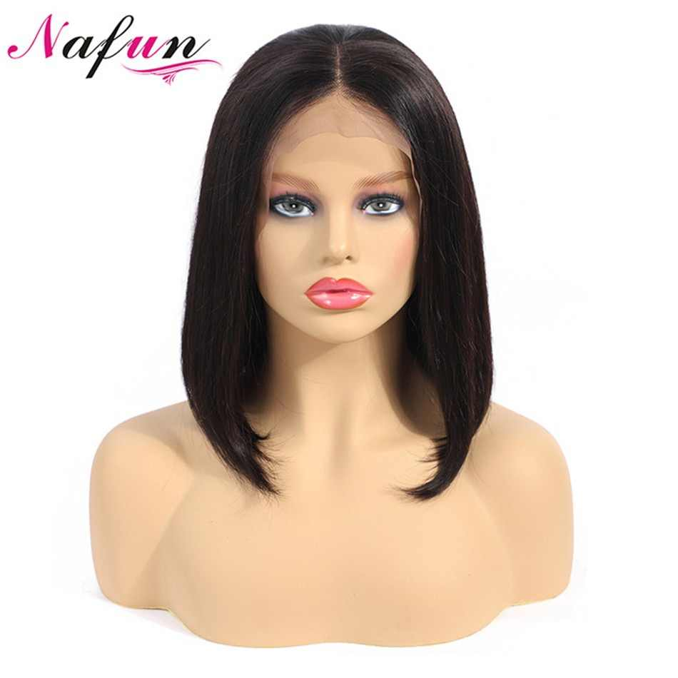 Nafun Lace Front Human Hair Wigs Peruvian Remy Hair Straight Bob Lace Front Wigs For Black Women Short Human Hair Wigs
