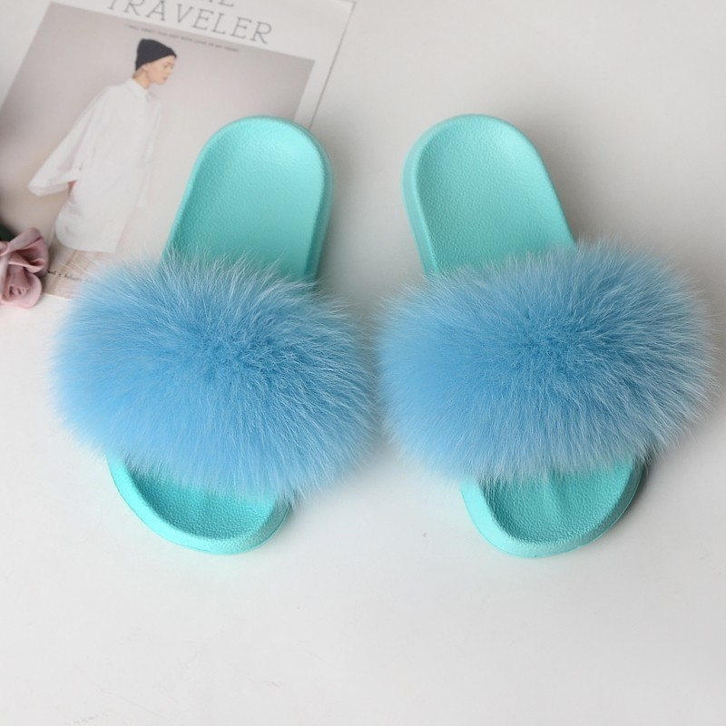 Fox Slippers Fur Shoes Women Furry Slides House Real Fur Sandals Ladies Cute Summer Women 39 s Flip Flops Fluffy Plush Green 2019 in Slippers from Shoes