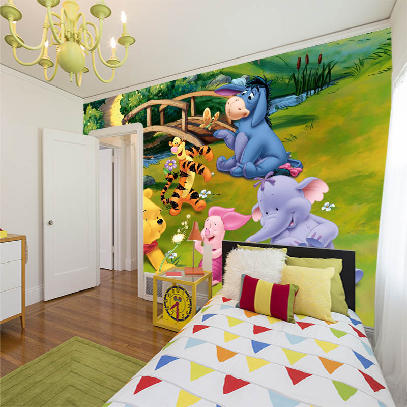 1 5m lovely cartoon animals large mural Winnie the pooh corner wall painting for children room kindergarten wall papers in Wallpapers from Home Improvement