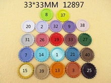 25Y12897 33*33mm flattened bottle caps diy hairbow hair bows necklace accessories crafts order$ 6.00