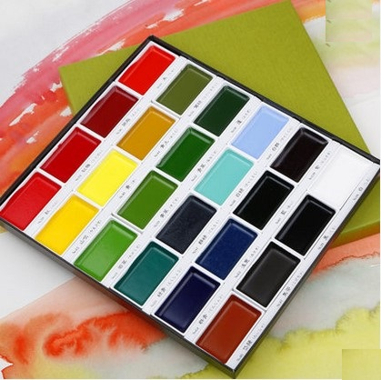 Kuretake High Quality Solid Watercolor Paints  12/18/24/36 Colors Art Supplies