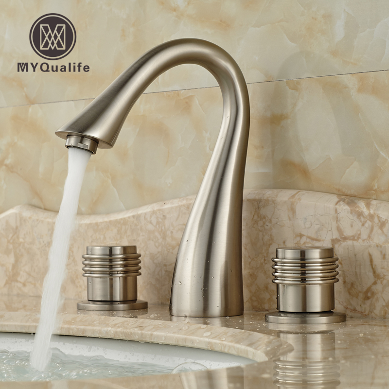 Nickel Brushed 3 Holes Widespread Basin Sink Faucet Dual Handle Bathroom Washing Mixer Taps brushed nickel waterfall bathroom sink basin mixer faucet widespread dual handles hot cold taps