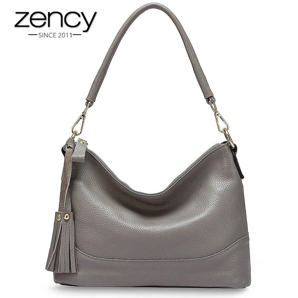 Женская сумка Zency, из 100% натуральной кожи, через плечо, черного, серого цвета|Сумки с ручками|   | АлиЭкспресс