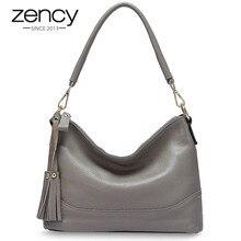 Zency Fashion Hobos 100% Echt Lederen Handtas Vrouwen Schoudertas Zwart Grey Lady Crossbody Messenger Bags Hoge Kwaliteit