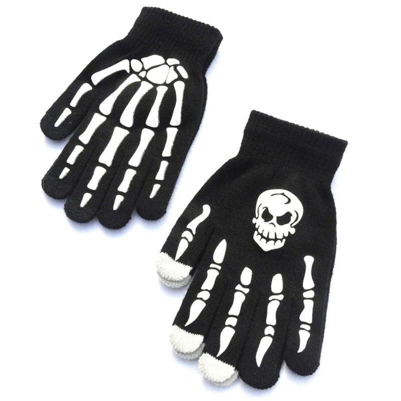 1Pair Men Skull Bone Skeleton Goth Racing Non-Slip Sports Full Finger Gloves Hand Gloves guantes eldiven handschoenen 40FE1808